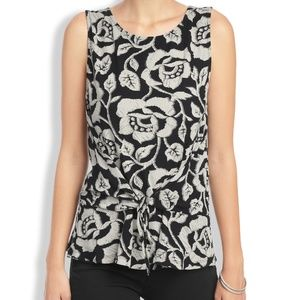 Lucky Brand tie front floral tank top Black White
